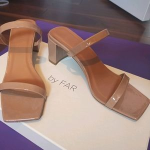 By Far Tan Patent Tanya Heeled Sandals